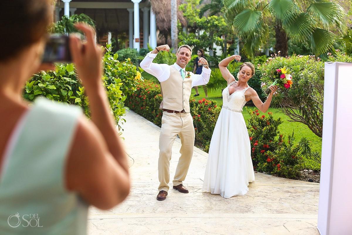 funny wedding reception entrance strong crossfit bride groom