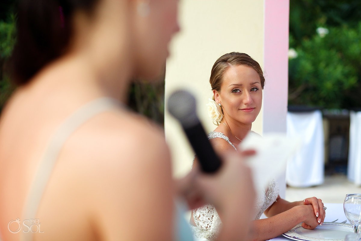 beautiful bride watching speeches daytime wedding reception Valentin Imperial Maya Gazebo
