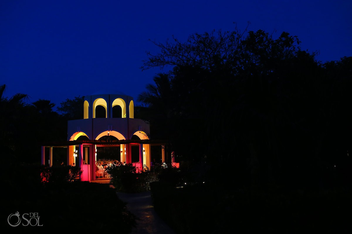 Playa del Carmen Destination Wedding reception Valentin Imperial Maya Gazebo night lighting