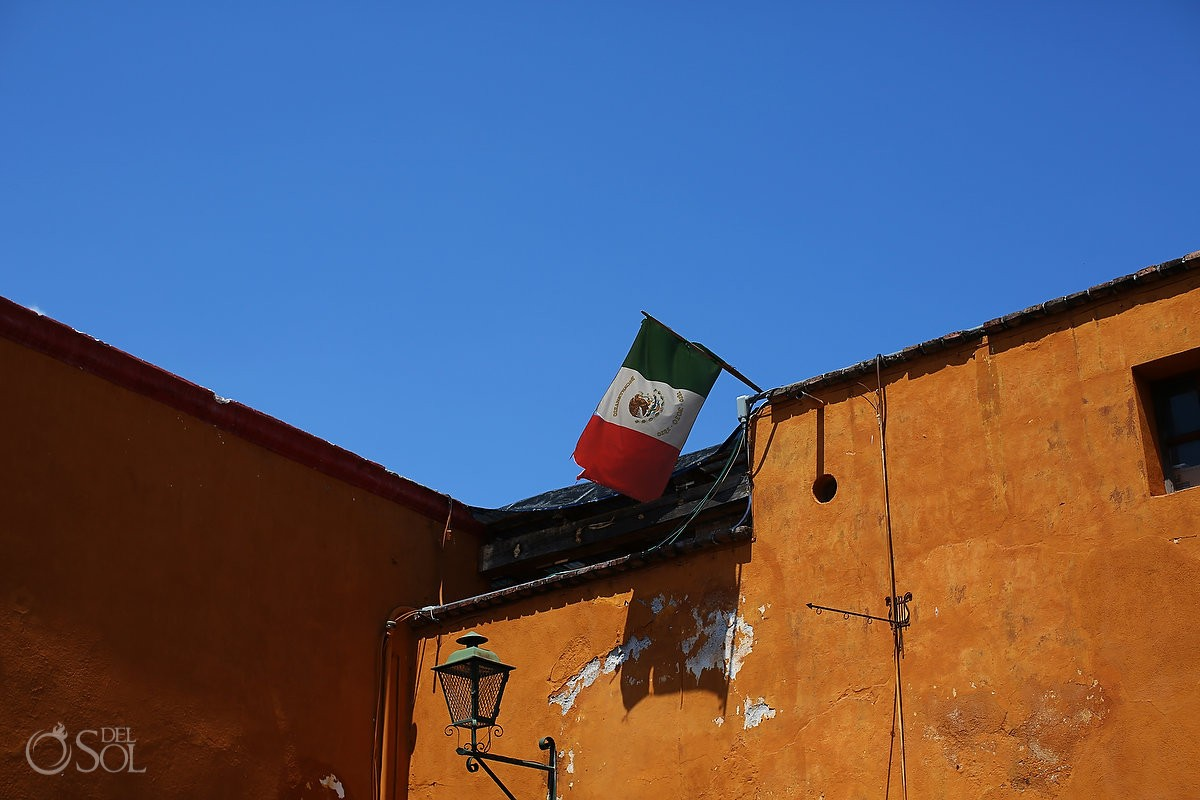 Mexican flag flying, travel photography San Miguel de Allende, Mexico