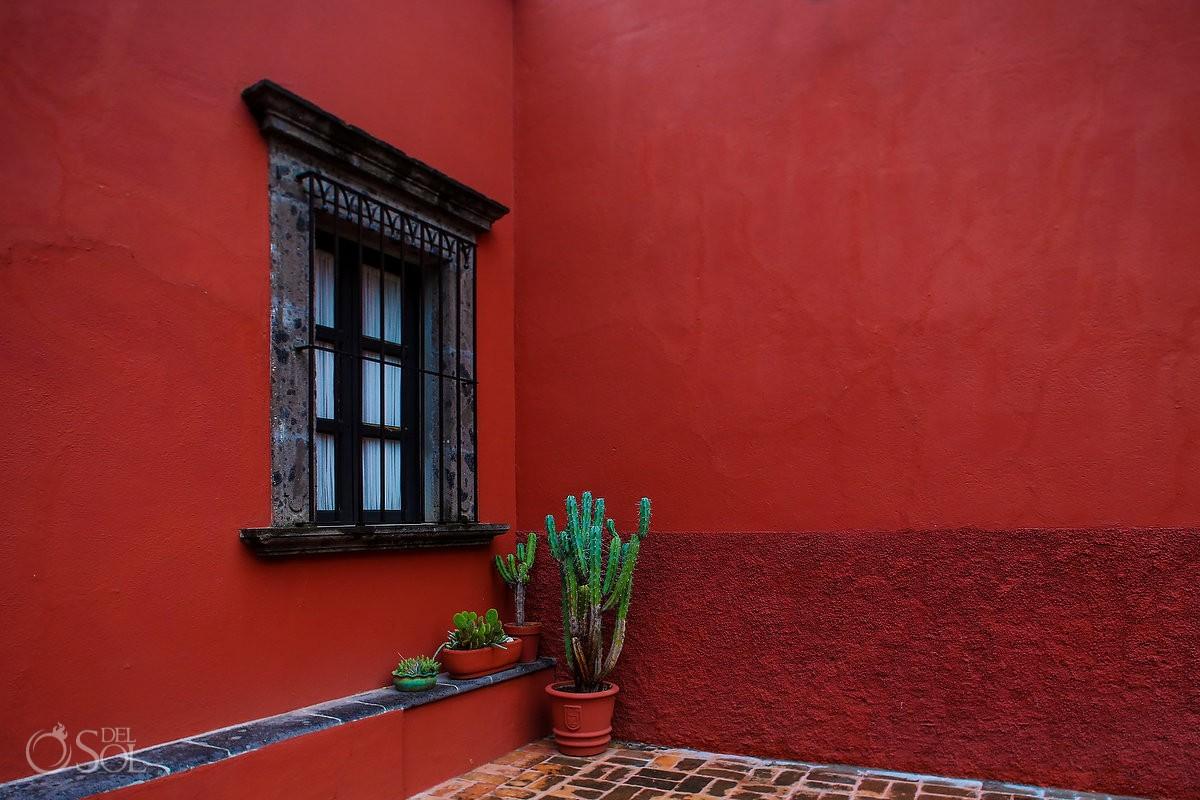 cactus courtyard red wall Belmond Casa de Sierra Nevada, San Miguel de Allende