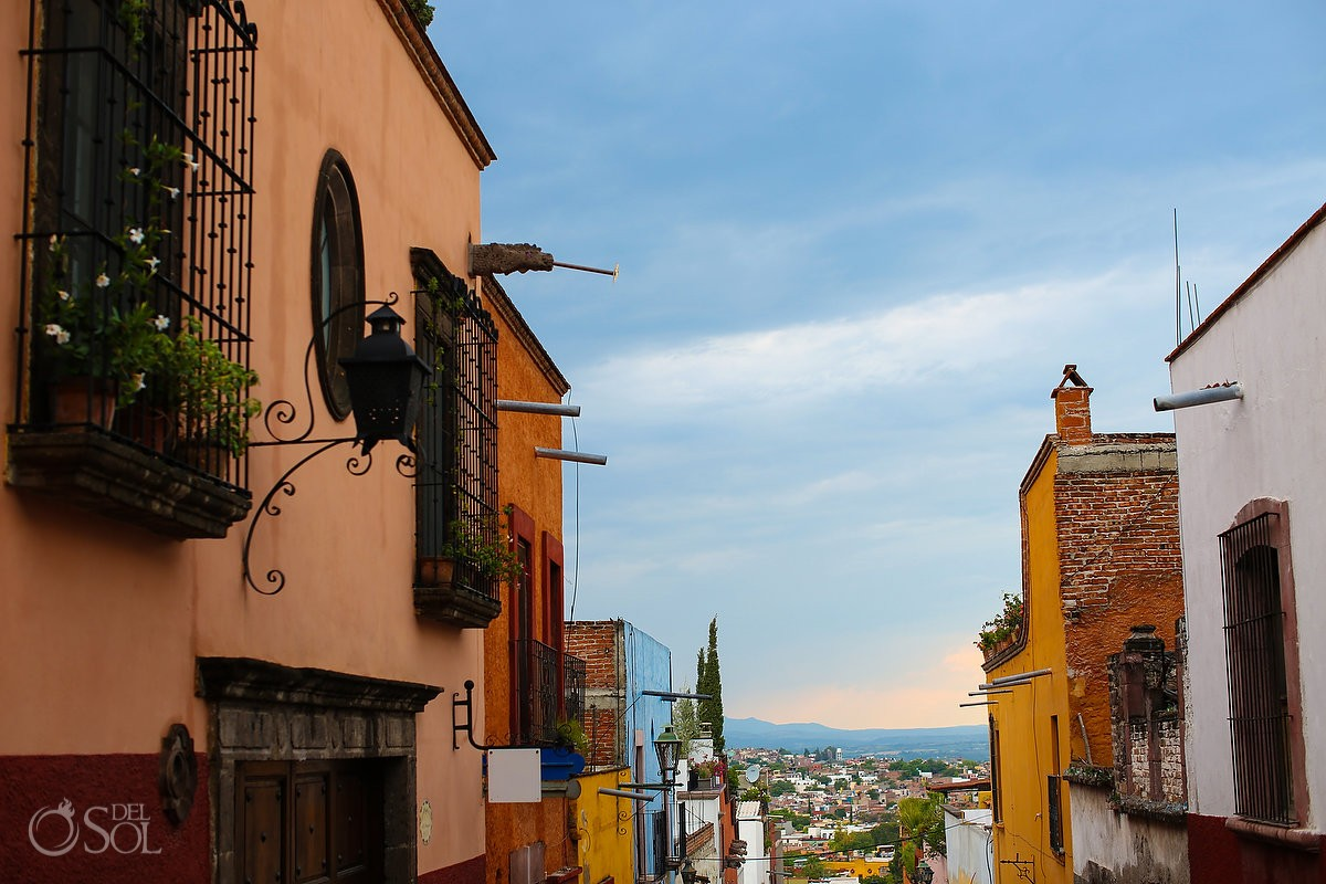 San Miguel de Allende street view colored buildings