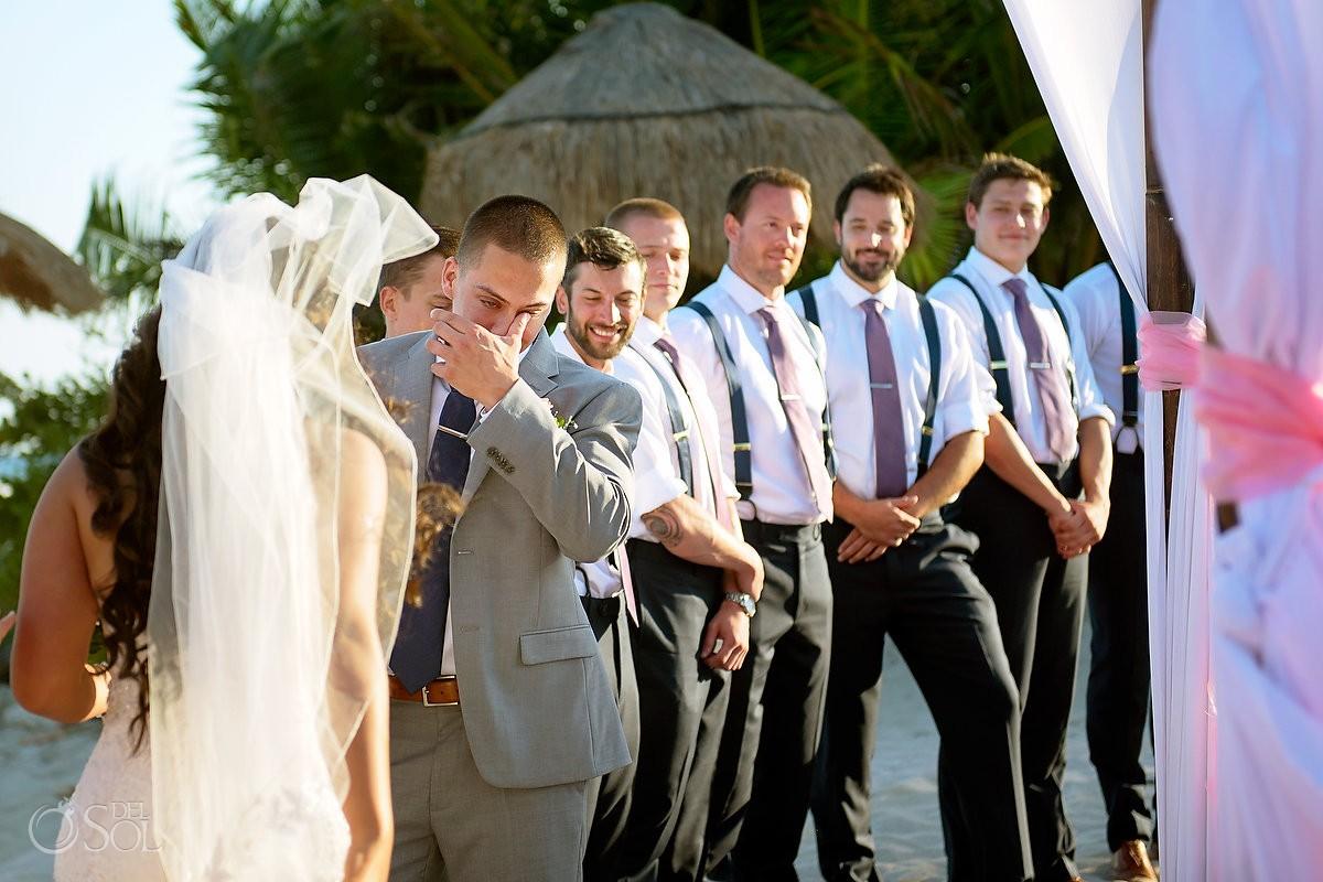 emotional groom crying, destination wedding Blue Venado Beach Club, Playa del Carmen, Mexico