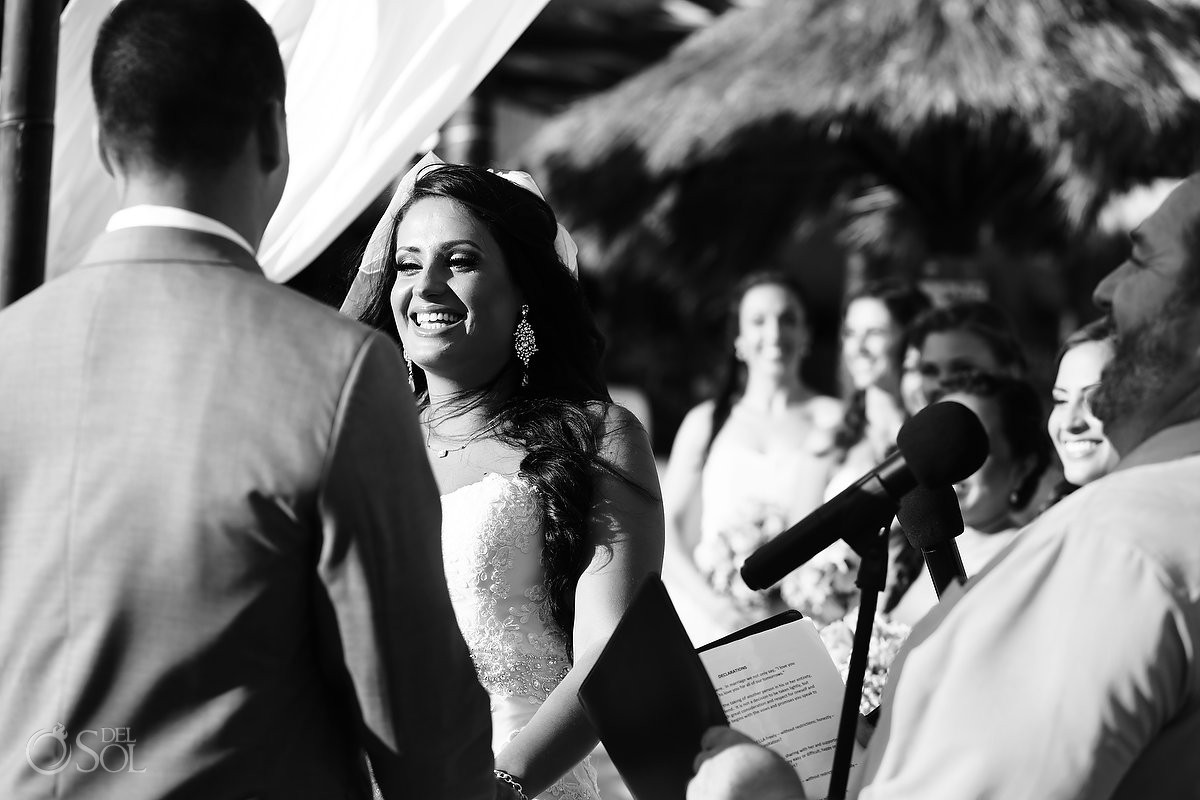 black white photo bride smile destination wedding Blue Venado Beach Club, Playa del Carmen, Mexico