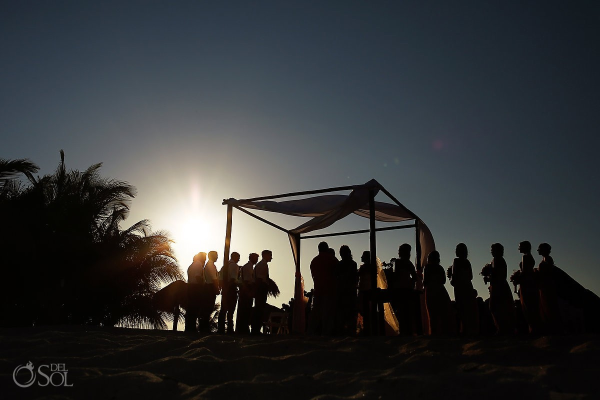 Artistic silhouette destination wedding Blue Venado Beach Club, Playa del Carmen, Mexico