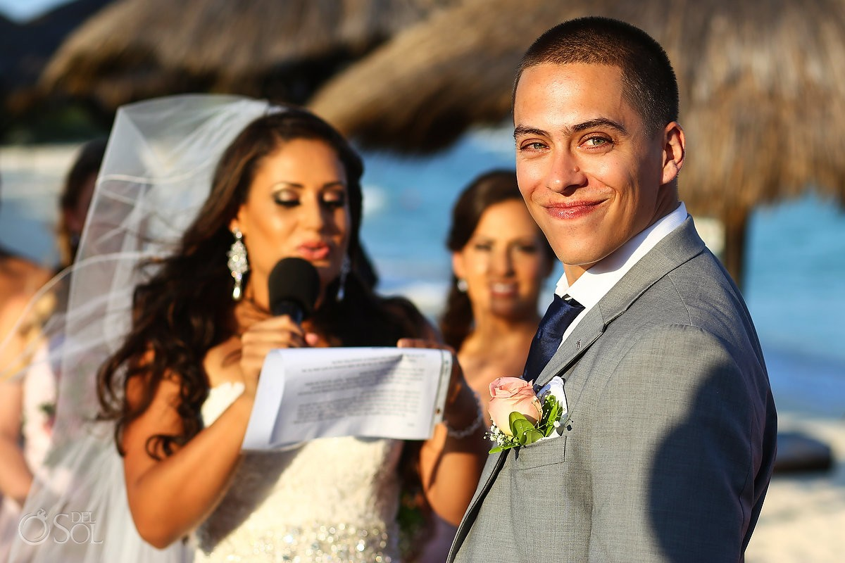 handsome groom smile destination wedding Blue Venado Beach Club, Playa del Carmen, Mexico