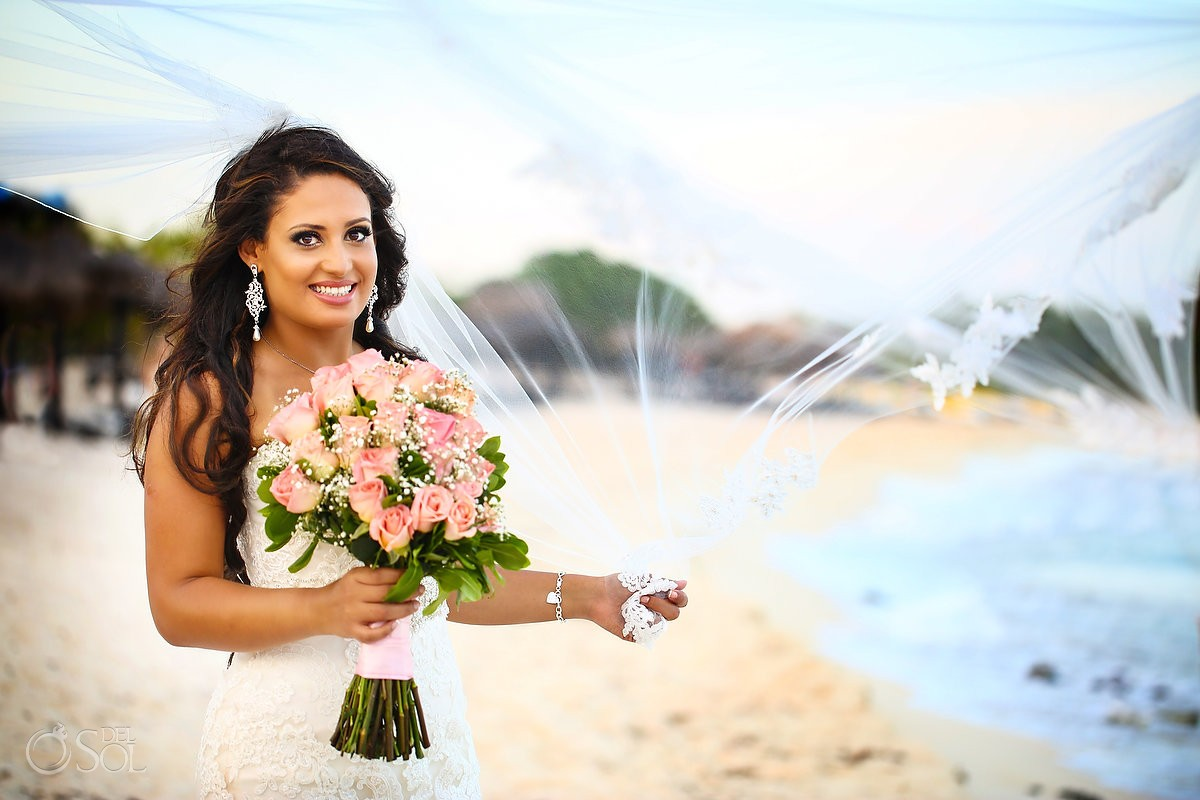 bride portrait destination wedding Blue Venado Beach Club, Playa del Carmen, Mexico