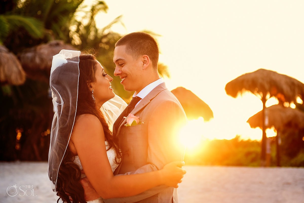sunset destination wedding portrait Blue Venado Beach Club, Playa del Carmen, Mexico