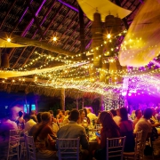long exposure scene setter destination wedding reception Blue Venado Beach Club, Playa del Carmen, Mexico