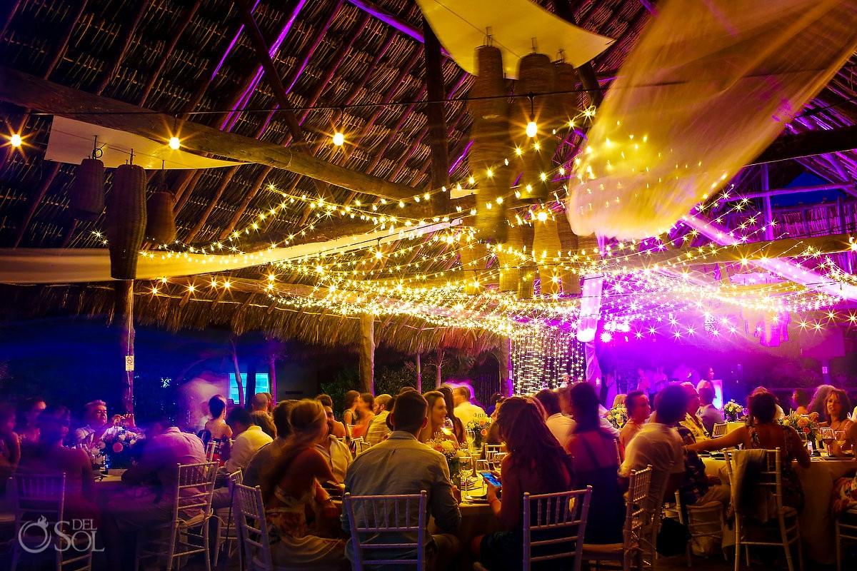 long exposure scene setter destination wedding reception Blue Venado Beach Club, Playa del Carmen, Mexico