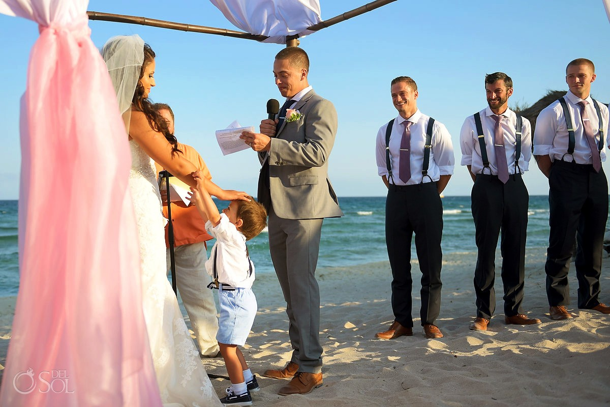 wedding crasher cute child bride groom son destination wedding Blue Venado Beach Club, Playa del Carmen, Mexico