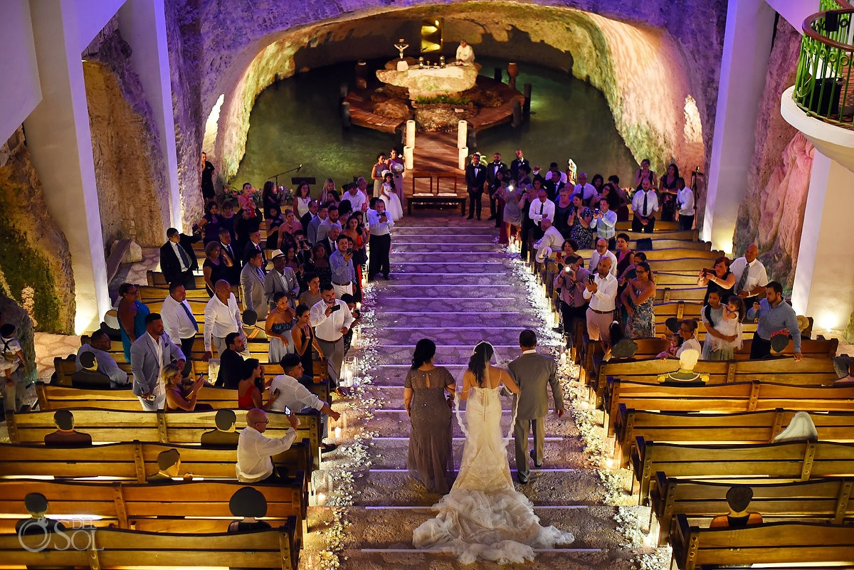 Bride entrance cenote church chapel of Guadalupe Xcaret, Riviera Maya, Mexico