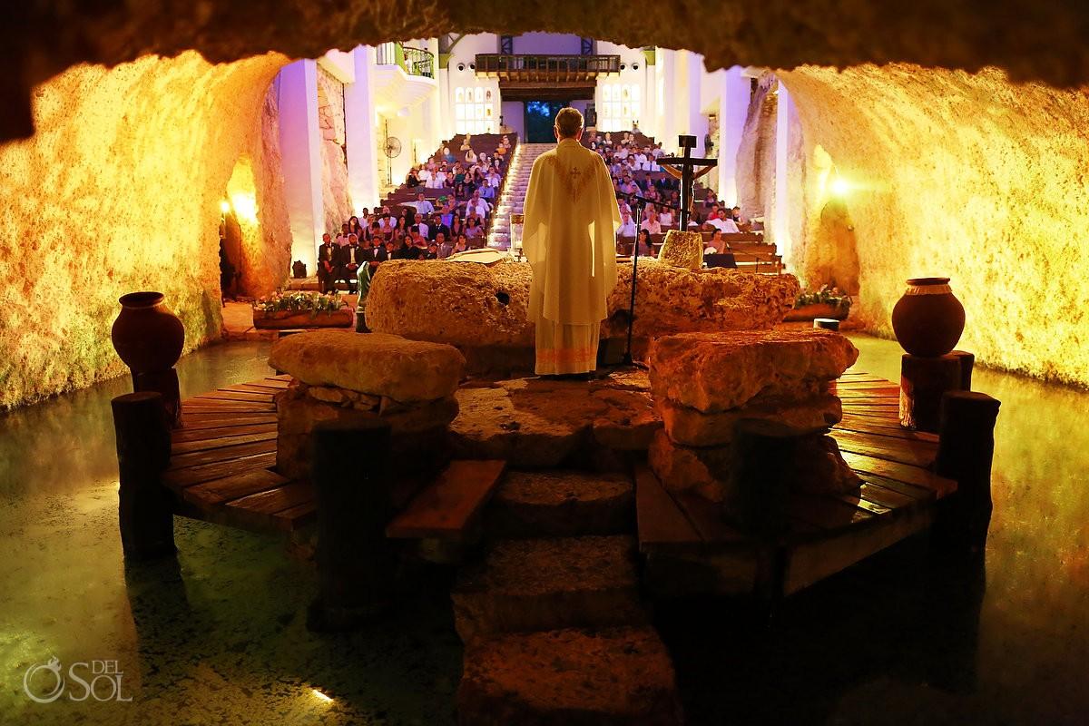 Guadalupe Chapel Catholic wedding underground cenote church Capila de guadalupe Xcaret park, Riviera Maya, Mexico Del Sol Travels