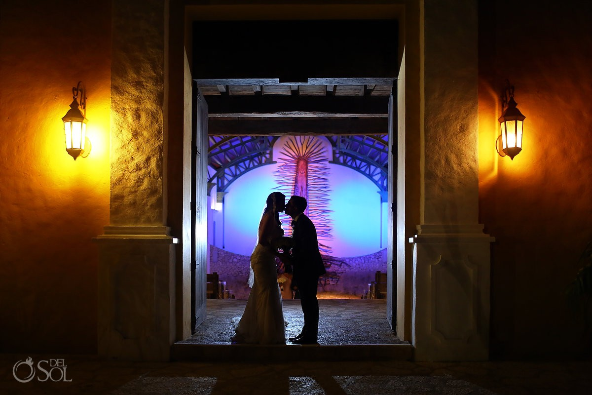 artistic silhouette wedding portrait entrance church chapel of Guadalupe Xcaret, Riviera Maya, Mexico