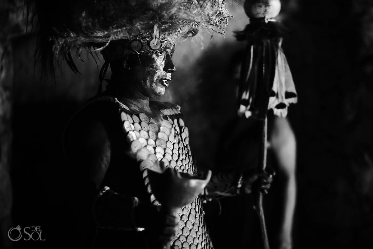 pre-hispanic dancer conch blower caracol Xcaret Riviera Maya, Mexico