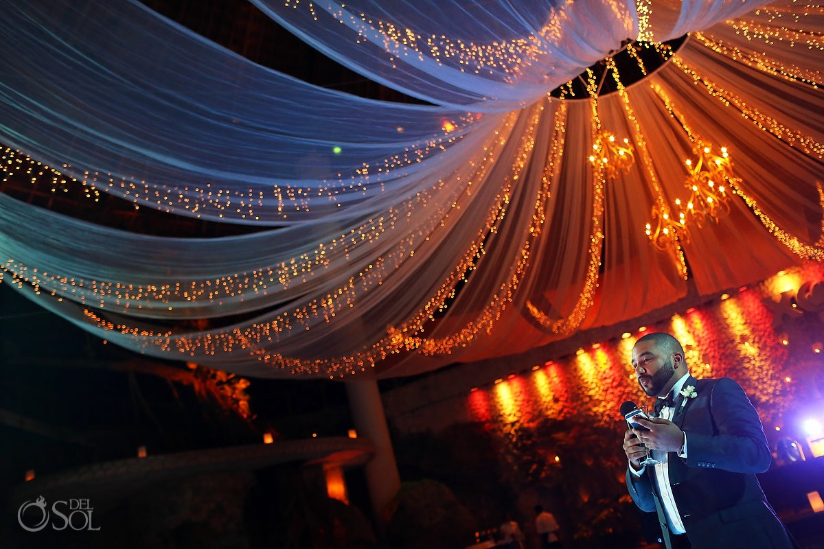 wedding reception speech La Isla Restaurant Xcaret, riviera maya, Mexico
