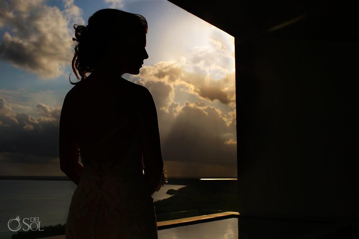 Artistic bridal portrait silhouette Destination Beach Wedding NIZUC Resort, Cancun