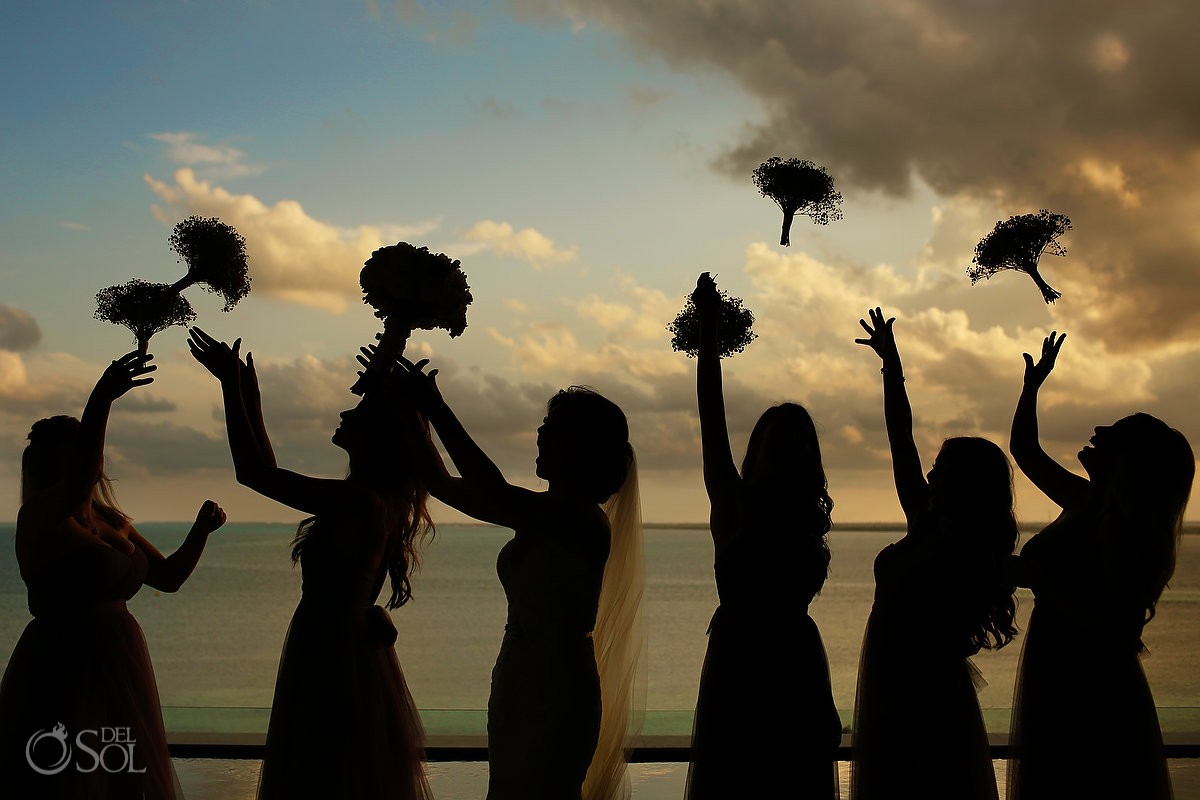Bridesmaid bouquet sunset silhouettes Destination Beach Wedding NIZUC Resort, Cancun