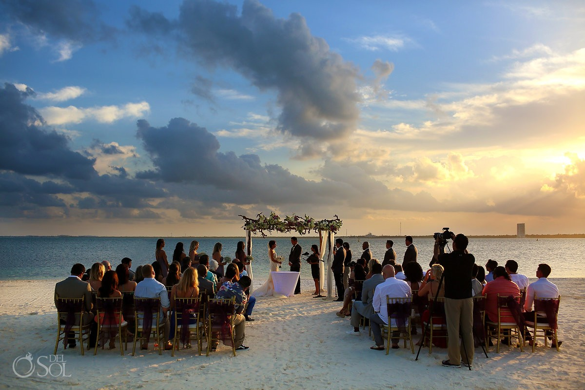 Beautiful Sunset Destination Beach Wedding Nizuc Resort Cancun Funny Ceremony