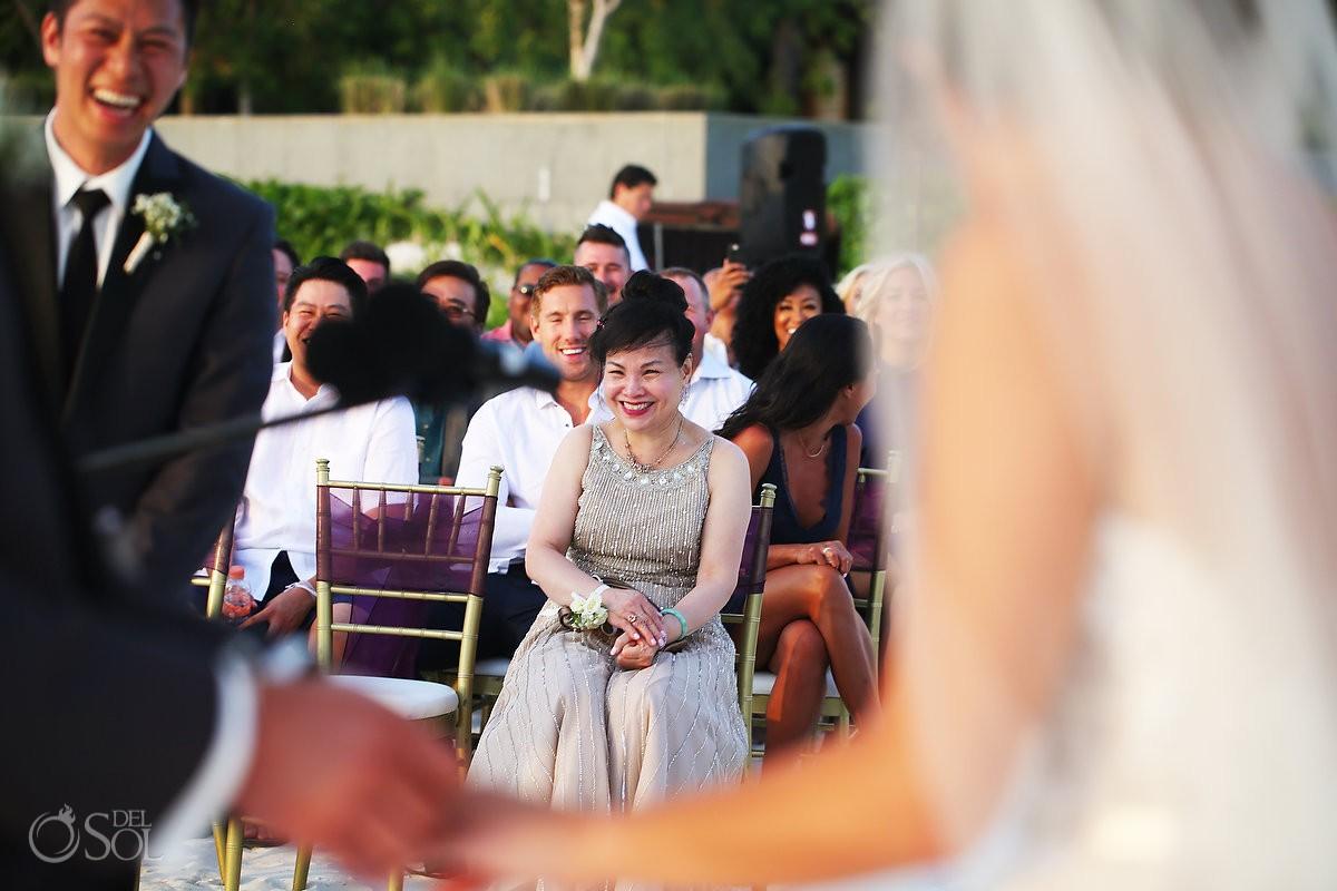 guests laughing Destination Beach Wedding NIZUC Resort, Cancun