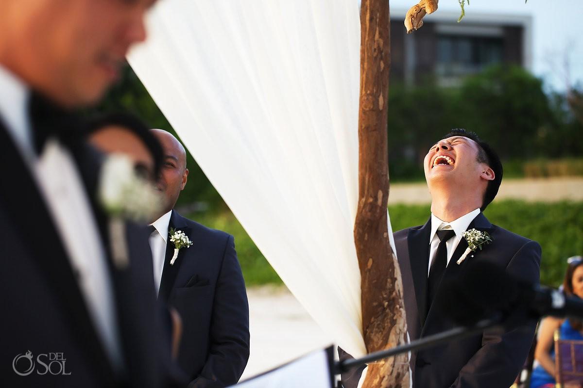 groomsman laughing Destination Beach Wedding NIZUC Resort, Cancun
