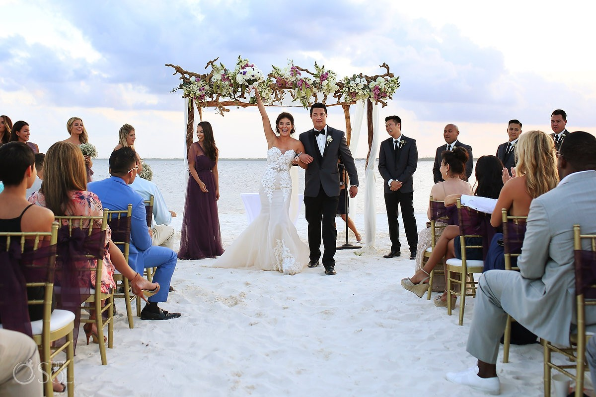 ceremony exit celebration Destination Beach Wedding NIZUC Resort, Cancun