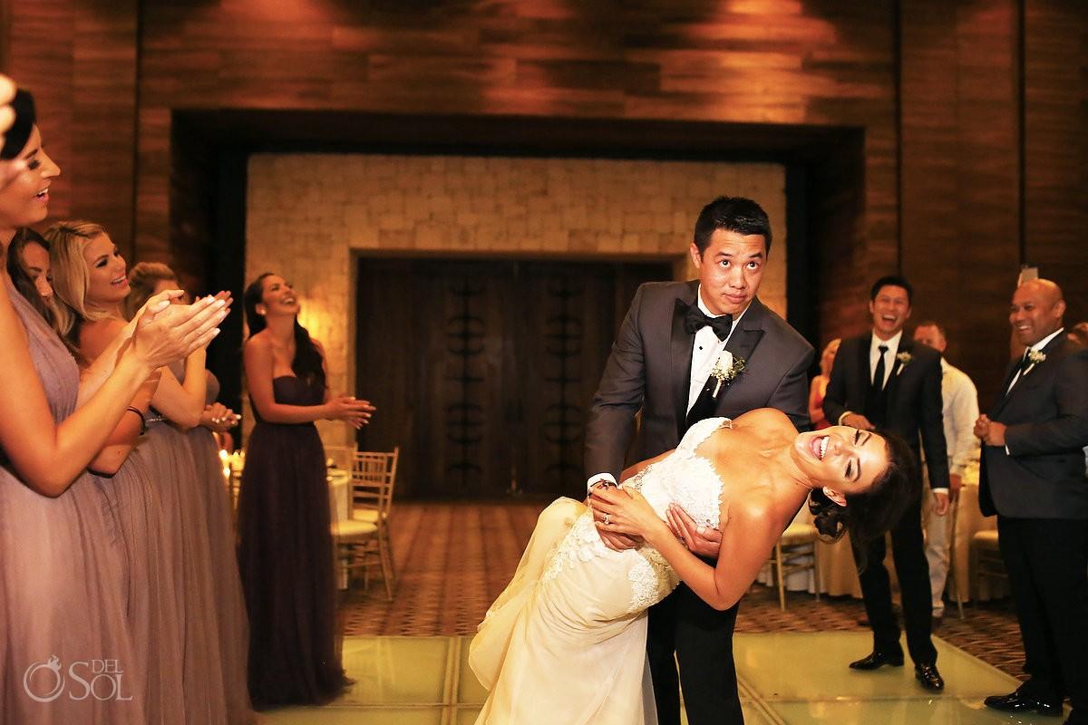 first dance Destination Wedding reception Nizuc ballroom Cancun