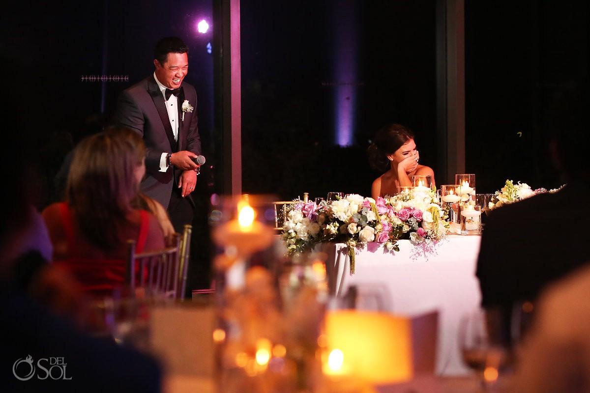 speeches first dance Destination Wedding reception Nizuc ballroom Cancun