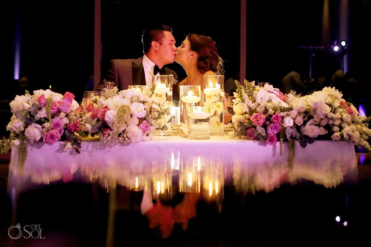 artistic Destination Wedding reception portrait Nizuc ballroom Cancun