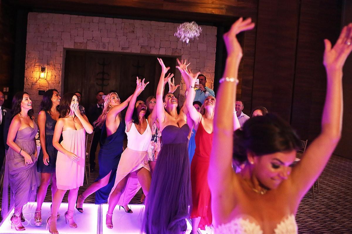 bouquet toss Destination Wedding reception Nizuc ballroom Cancun