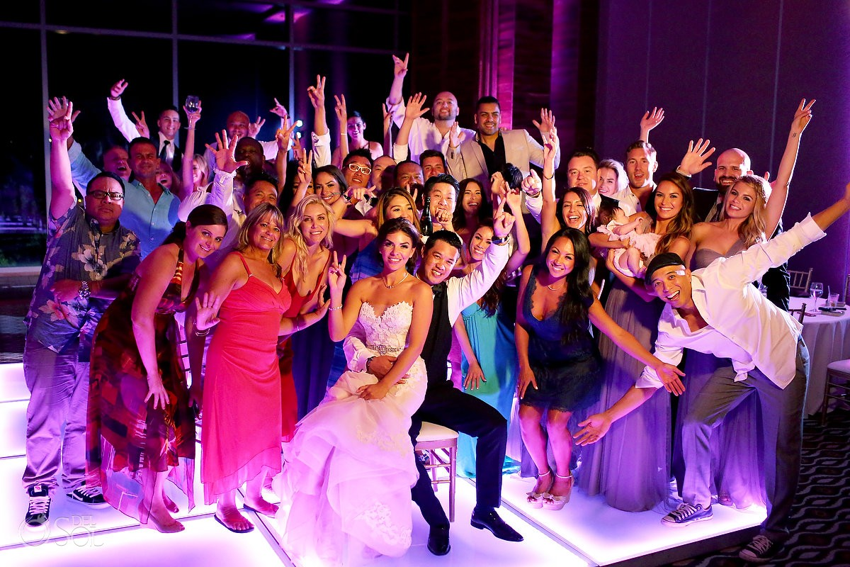 group all wedding guests party photos Destination Wedding reception NIZUC Resort Spa, Cancun