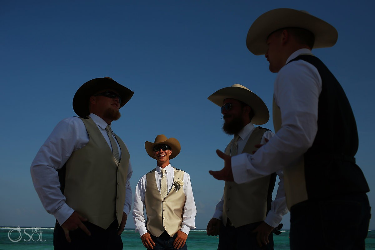 groom groomsmen wearing cowboy hat, beach destination wedding, Secrets Akumal, Riviera Maya, Mexico