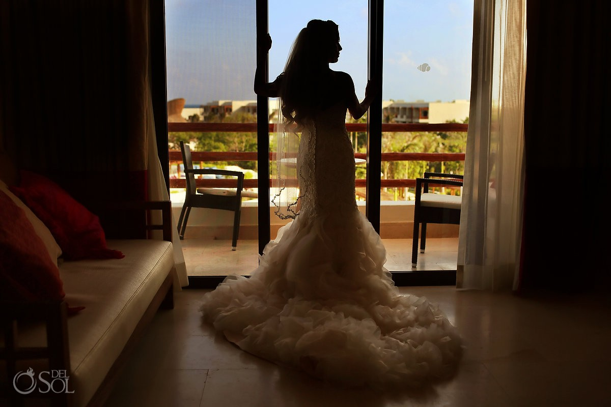 bridal portrait silhouette beach destination wedding, Secrets Akumal, Riviera Maya, Mexico