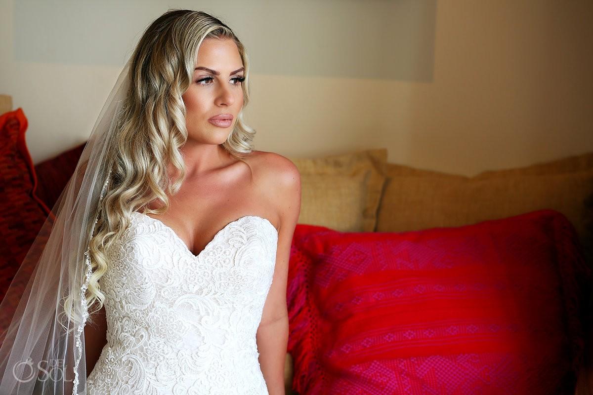beautiful bride portrait beach destination wedding, Secrets Akumal, Riviera Maya, Mexico