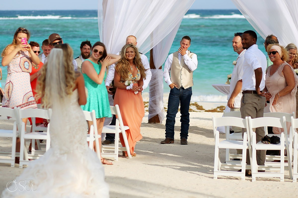 groom reaction first look beach destination wedding, Secrets Akumal, Riviera Maya, Mexico