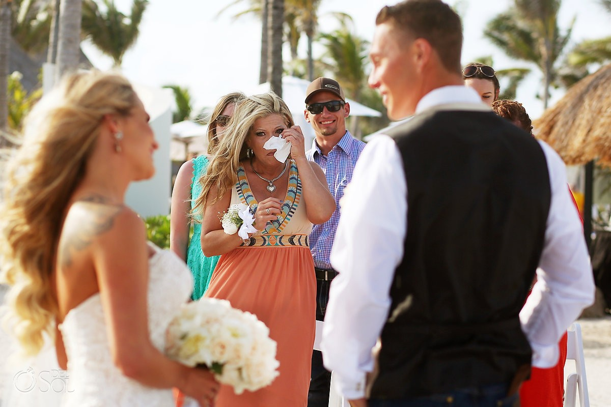 guest crying beach destination wedding, Secrets Akumal, Riviera Maya, Mexico