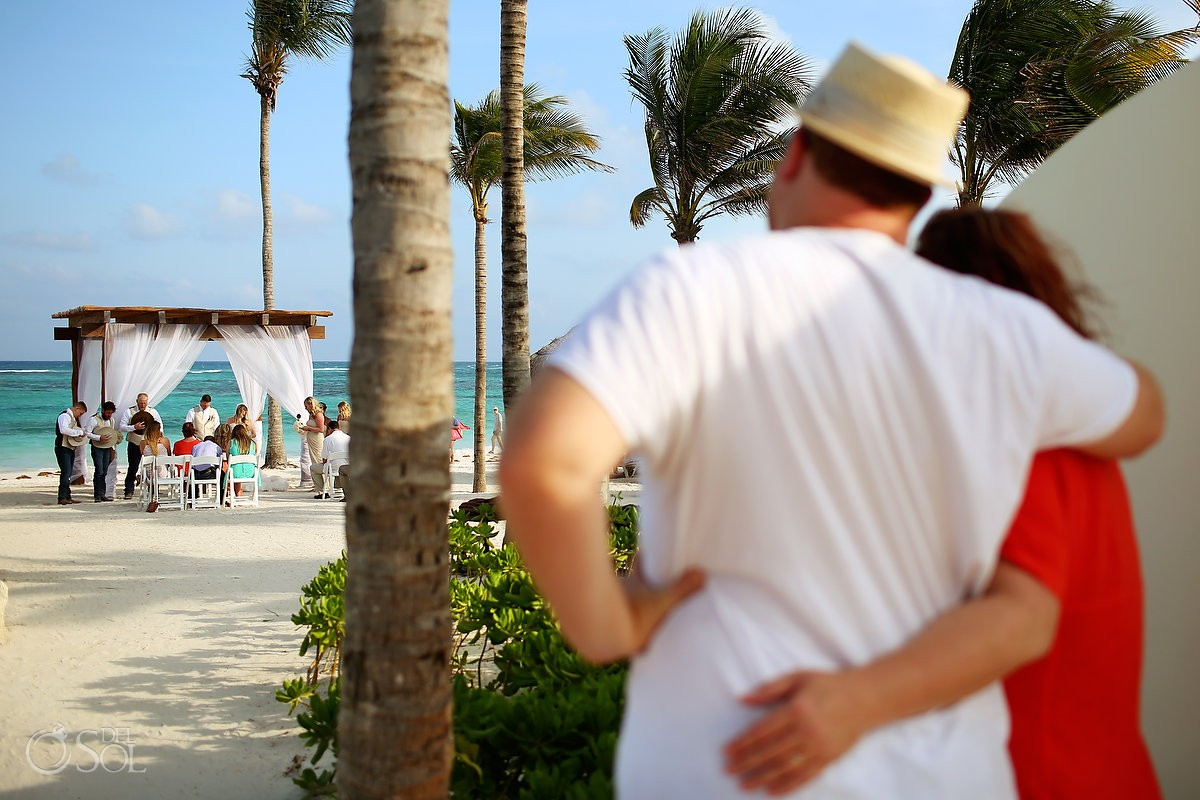hotel guests watching beach destination wedding, Secrets Akumal, Riviera Maya, Mexico
