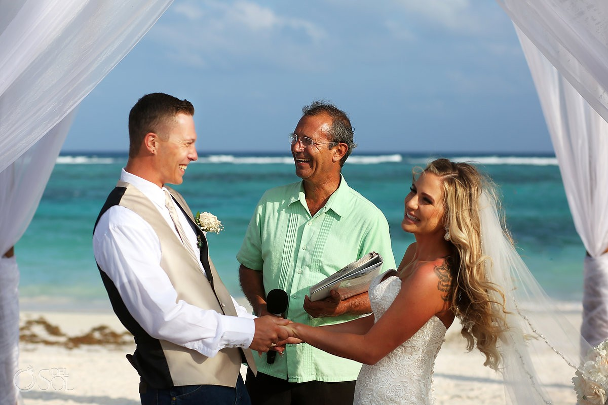 fun ceremony moment beach destination wedding, Secrets Akumal, Riviera Maya, Mexico