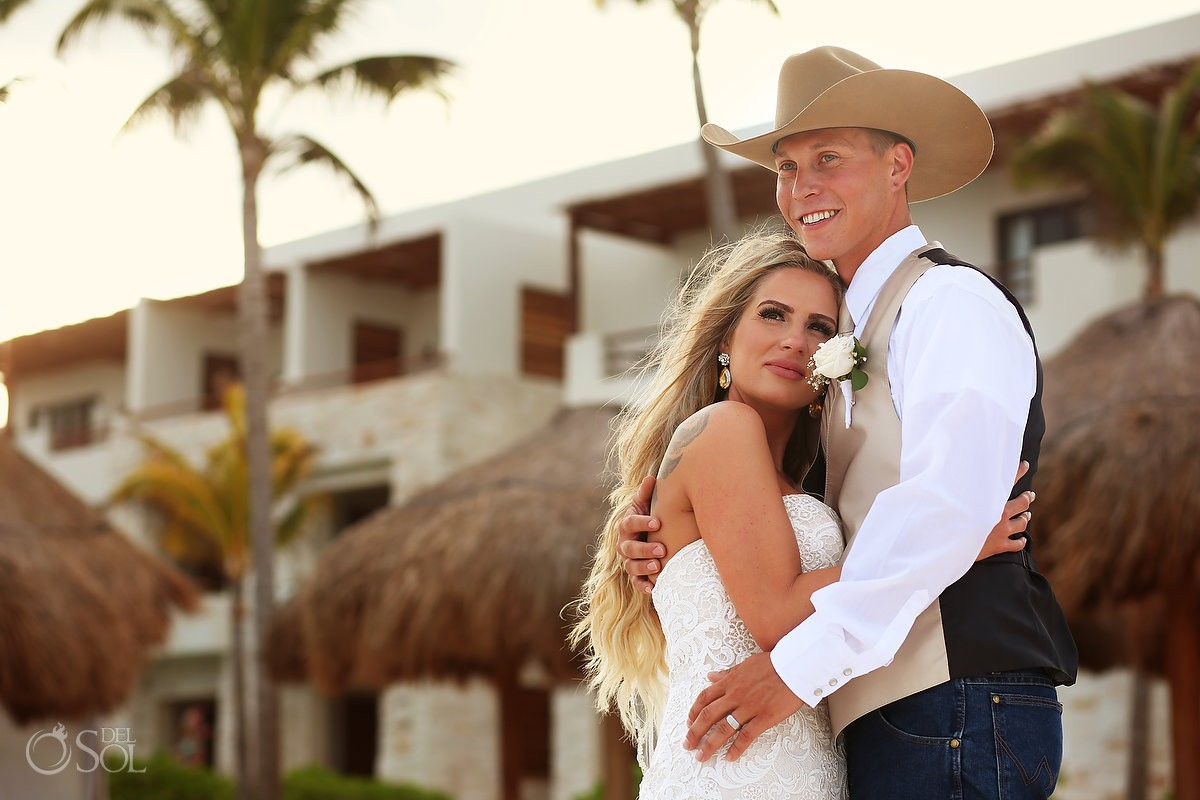 beach destination wedding portrait, groom wearing cowboy hat, Secrets Akumal, Riviera Maya, Mexico