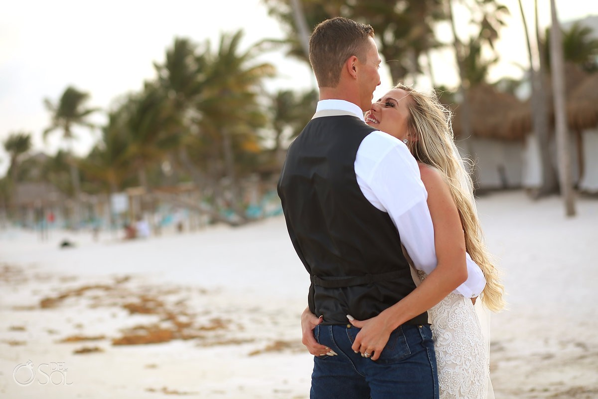 cheeky destination wedding portrait butt grab, Secrets Akumal, Riviera Maya, Mexico