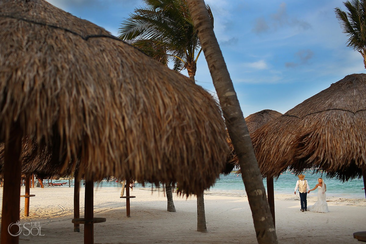 beach destination wedding portrait, palapas, Secrets Akumal, Riviera Maya, Mexico
