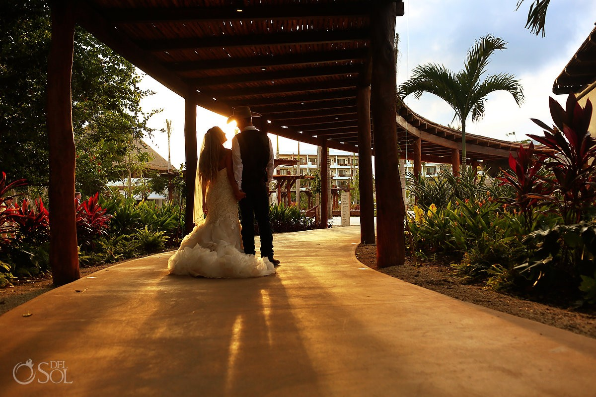 sunset destination wedding reception portrait, Secrets Akumal terrace, Riviera Maya, Mexico