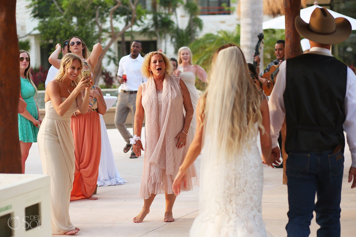 bride groom arrive destination wedding reception, Secrets Akumal terrace, Riviera Maya, Mexico