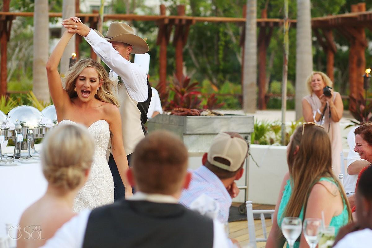 first dance destination wedding reception, Secrets Akumal terrace, Riviera Maya, Mexico