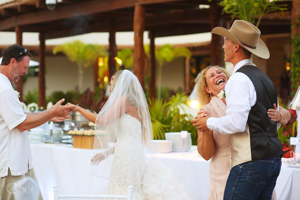 fa5ther daughter mother son first dance, destination wedding reception, Secrets Akumal terrace