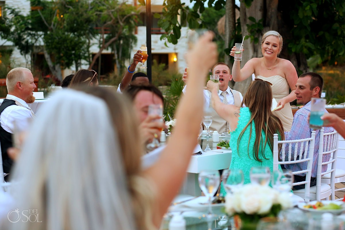 destination wedding reception toasts speeches, Secrets Akumal terrace, Riviera Maya, Mexico