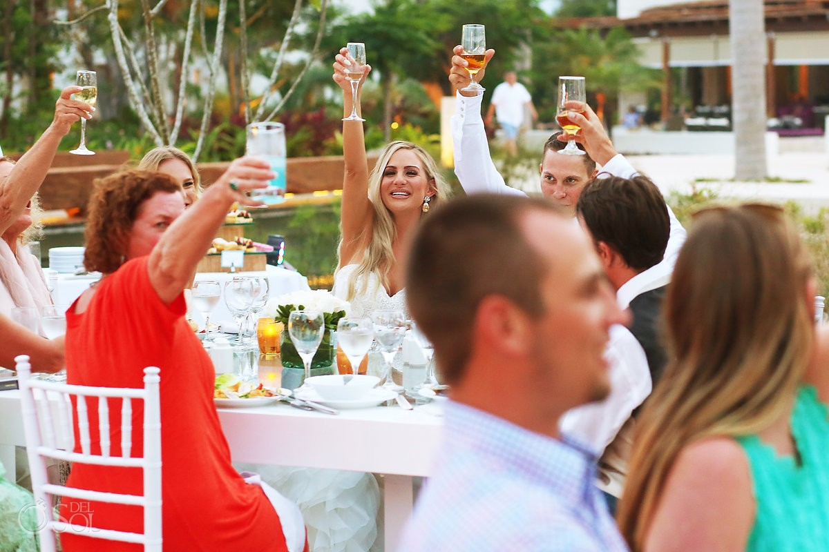 Creative destination wedding reception speeches toasts cheers, Secrets Akumal terrace, Riviera Maya, Mexico