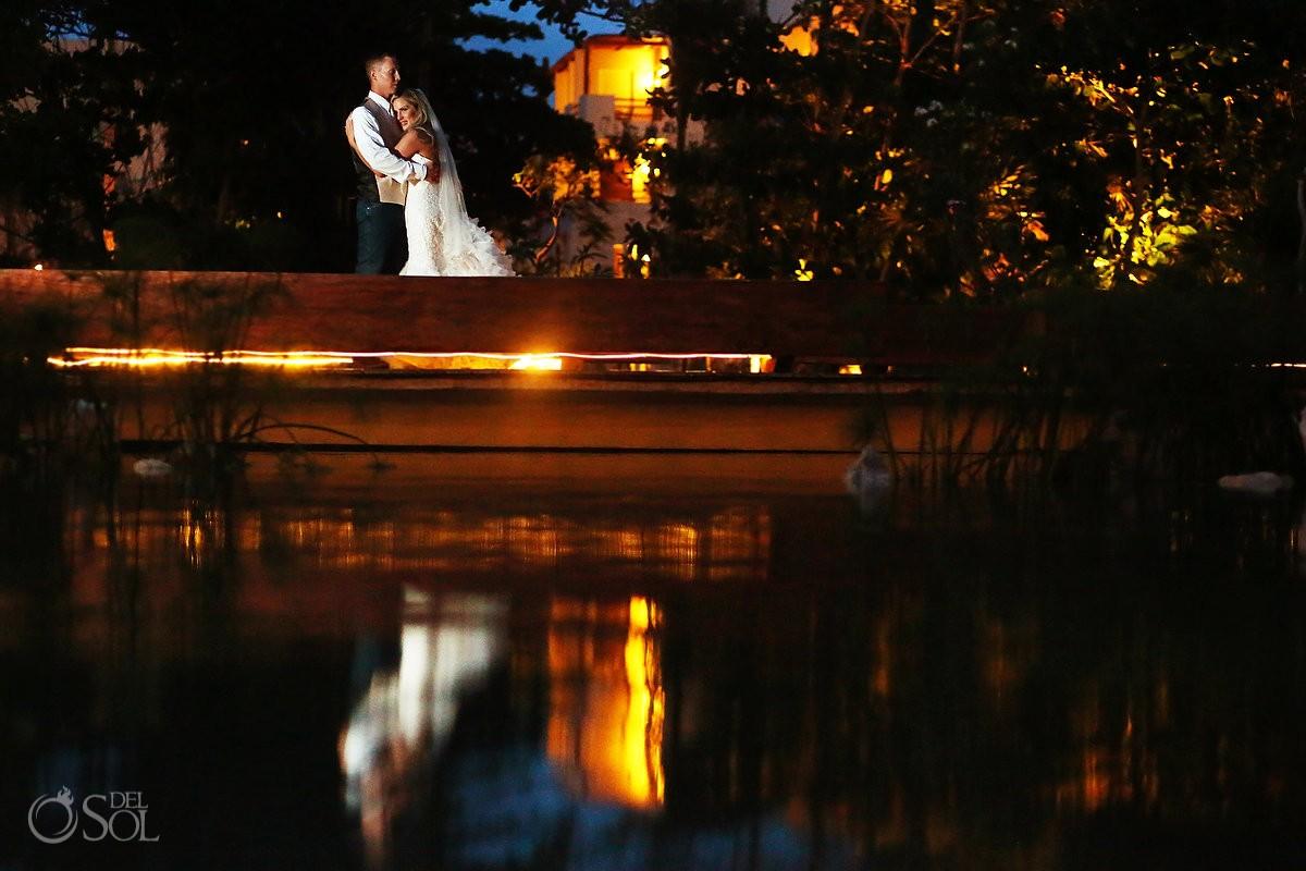Creative destination wedding reception portrait, Secrets Akumal terrace, Riviera Maya, Mexico