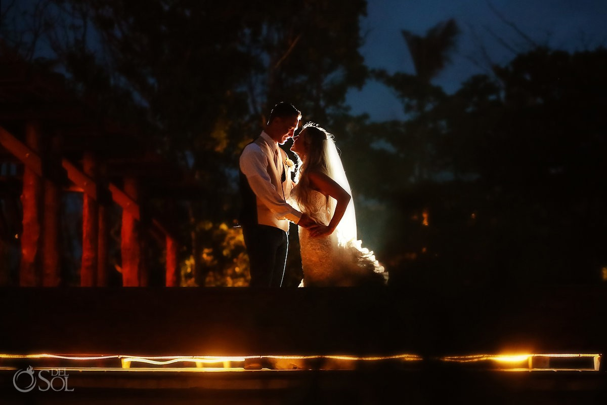 Creative destination wedding reception portrait, Secrets Akumal terrace, Riviera Maya, Mexico