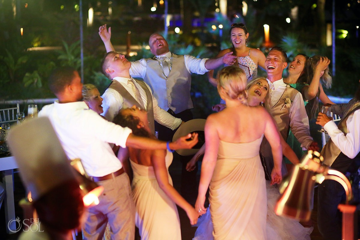 destination wedding reception dance floor fun, Secrets Akumal terrace, Riviera Maya, Mexico